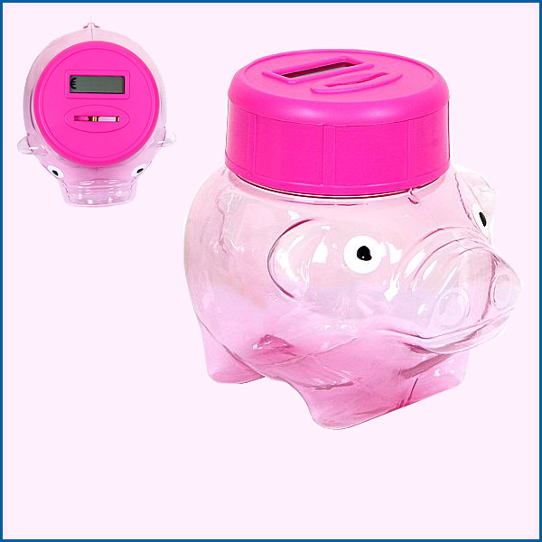 Transparent piggy bank automatic coin counter